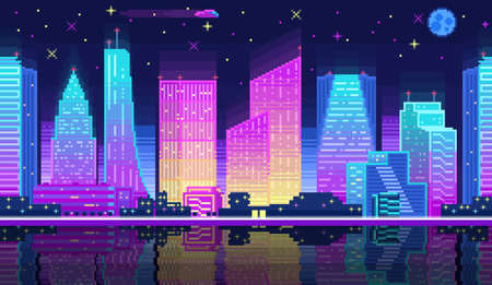 Night city landscape neon pixel background with hight buildings silhouette and stars. Pixelated night city landscape neon for game. 2d pixel video game nighttime with modern skyscrapers in city