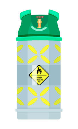 Isolated gas container with regulator. Compressed gas in tank under high pressure. Balloon filling gas liquid, fuel. Cartoon illustration. Warning sign, flammable gas. Isolated at white background