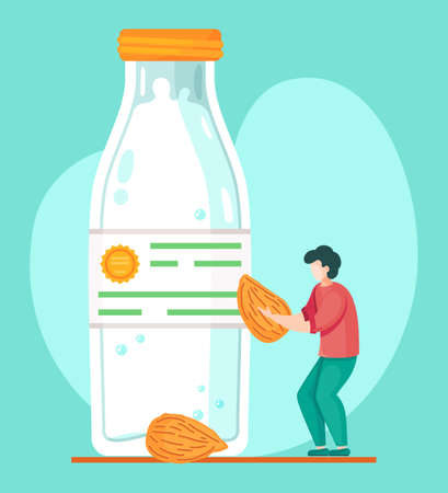 Guy with almond in hands. Concept of almond milk in plastic or glass closed bottle. Organic natural milk product. Man preparing organic free diary drink. Nut milk, vegan milk concept, lactose free Ilustração