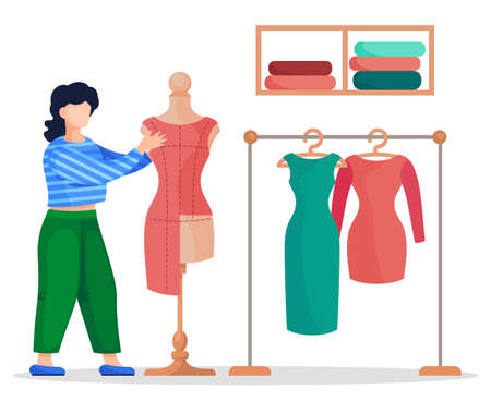Stylist, designer or seamstress working with textile of red dress at mannequin. Vector cartoon illustration at white background of sewing workshop, dresses at stand, working with sewing material