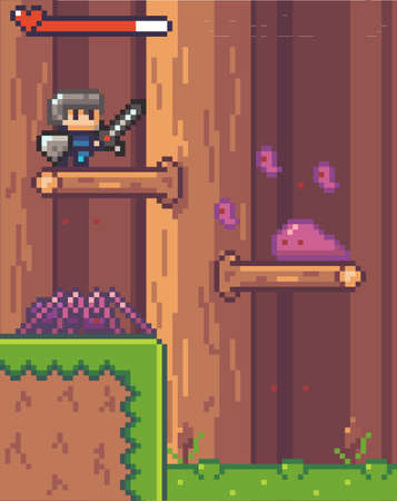 Pixel game interface, characters. Agressive mobs, monsters. Spider and slimes attack man with sword and shield standing on branch of tree in wood. Life, live scale. Adventure game, 2d texture