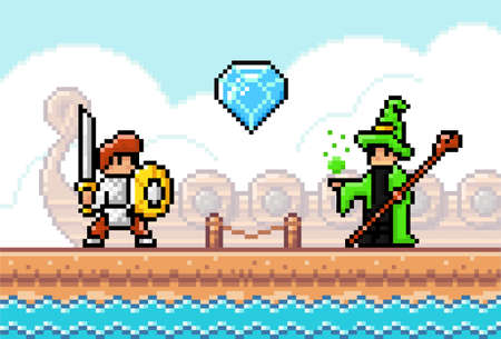 Pixel art style, characters in game arcade play vector illustration. Game scene with a knight with a sword and shield and a magician with stick, retro gaming mode. Wooden bridge on the water landscape Vettoriali
