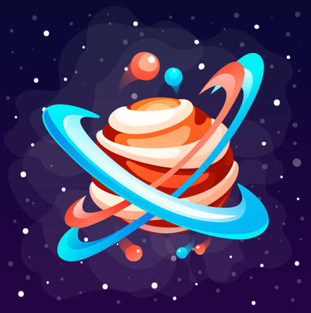 Cartoon icon of planet with circles of orbit. Cute unknown planet element. Colorful space planet isolated at space background. Galaxy or cosmos theme. Icon of mobile, computer game, mystical planet