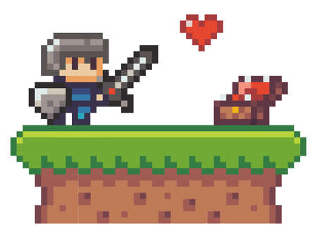 Pixel game hero, elements. Knight with sword, shield in front of open chest. Collecting lives, life heart. Reward for open level, plus one life. Isolated at white. 2d texture, graphic of 80s