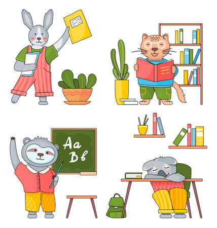 Illustration of animals in a classroom. Collection of funny cartoon animals students. Back to school set. Characters of forest inhabitants get an education, studying with books, siting at a desk