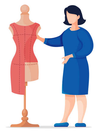 Stylist, designer or seamstress working with textile of red dress at mannequin. Vector cartoon illustration at white background of sewing workshop, working with sewing material. Flat style Illustration