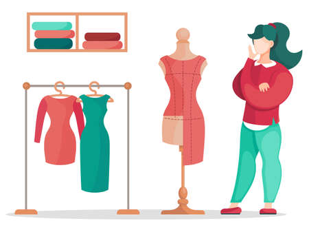 Fashion designer is making a model. Dressmaker is standing near the mannequin, looking at clothes pattern. Sewing workshop, atelier, custom clothing. Vector illustration of fashion production concept Illustration