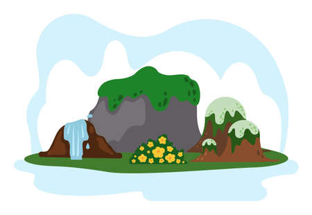 Banner with image of the main attractions of the south korean island Jeju. Mountaine hallasan with waterfalls, sleeping volcano peaks overgrown with grass, tropical plants in botanical garden