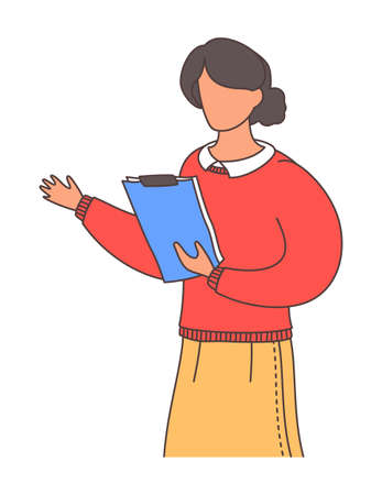 Woman wearing red sweater and yellow skirt holding clipboard in hand, female gesturing hand. Lady in casual clothes with hairstyle. Portrait of office worker or employee isolated at white background