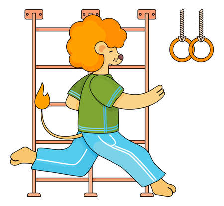 Funny cartoon animal student. A lion schoolboy in a sports uniform is runing on a physical education lesson in the school gym near the gymnastic stairs and rings on the ropes. Back to school concept