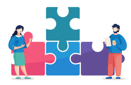 Team building concept. Vector illustration joint teamwork in the company. Workers communicate, solve business development issues at the pyramid of puzzles. Joint work, common success and team support