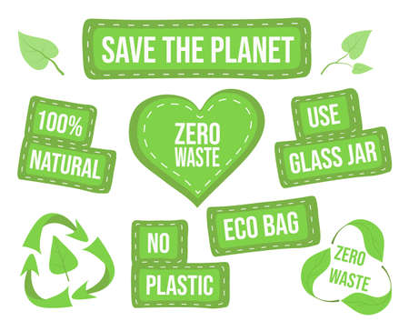 Zero waste elements and lettering. Eco concept use safe packaging. Set of inscriptions about durable and reusable products or things. Collection of signs and lettering about ecological using