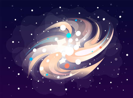 Space game element. Cartoon luminous shine space object rotates around itself on outer space background. Colored bright glow around a cosmic element on a dark blue background vector illustration