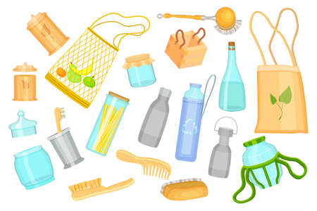 Poster in cartoon style with everyday goods, cosmetic or kitchen elements at white backgroound. Reusable handbags, glass bottles, jars, wooden brushes, box, jars. Eco friendly, no plastic, zero waste Illusztráció