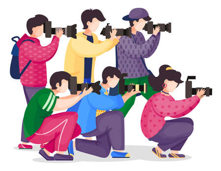 Set of vector cartoon characters isolated at white. Photographers or paparazzi taking photo, shooting with reflex camera, digital camera, side view. Photo journalists with professional equipment