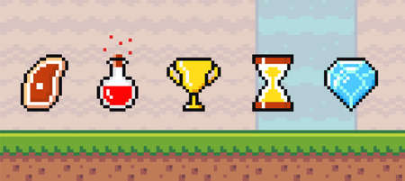 Pixel art game background with reward object in the air. Game scene with grass platform and valuable prizes important to the player, object symbols steak, potion bottle, golden cup, sandglass, diamond