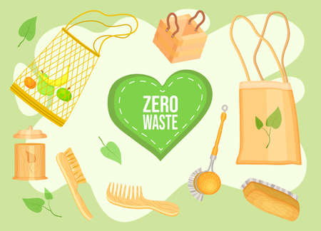 Zero waste collection. Eco concept, no trash life. Set of durable and reusable products or things - brushes, bags for eco groceries, wooden crafts. Eco style save the planet, use safe packaging