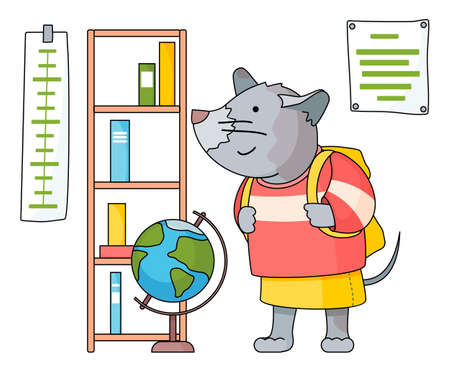 Funny cartoon animal student. Lovely cute mouse schoolgirl with backpack came to study at a geography class with bookshelf, globe and thermometer. Back to school concept. Nice rat in school clothes Ilustração