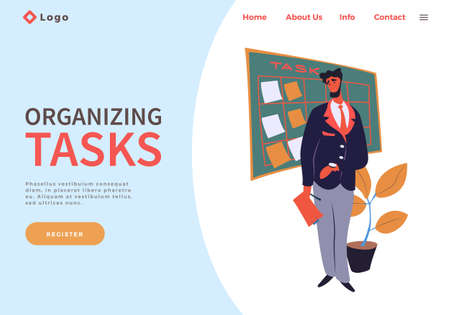 Website concept. Executive businessman standing near board with work tasks, holding clipboard in hand. Effectively organizing tasks, make notices. Appointments, planning events, notices on stickers