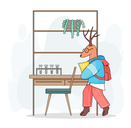 Cute cartoon children s illustration. Animal student. Deer with backpack holding notes, paper in paws standing in chemical cabinet. Case with plant in pot, test tubes at stand. Chemistry lesson