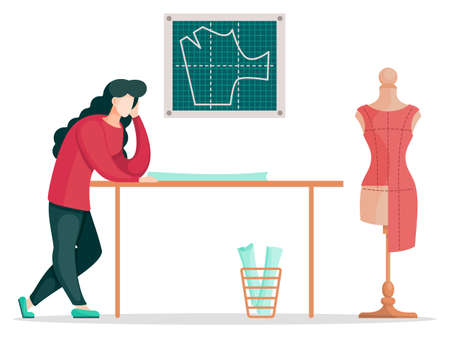 Fashion designer is making a model. Dressmaker is standing near the table and looking at clothes pattern. Sewing workshop, atelier, custom clothing. Vector illustration of fashion production concept Ilustração
