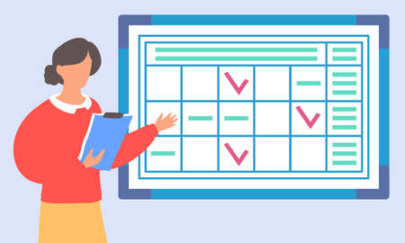 Woman worker with clipboard standing near office planner at wall and gesturing hand, planning office meetings. Table with tasks and checkmarks. Effectively events planning of work, work moments