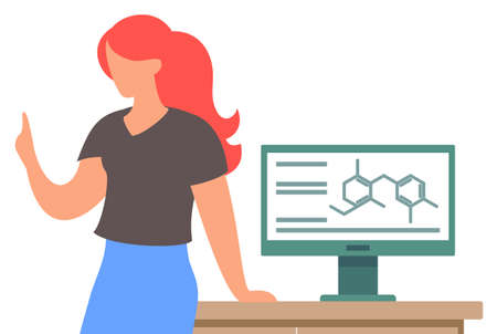 Woman with raised up finger standing near table with computer and speaking about science. Teacher telling about chemistry. Chemical formulas, text info at monitor of computer. Isolated character