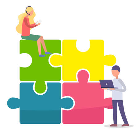 Team building concept. Vector illustration joint teamwork in the company. Man with laptop and woman sit on top of pyramid of puzzles. Joint work, common success and team support, business development