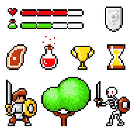 Set of meat, poison, cup winner, life and magic force lines, shield, knight with sword, tree, skeleton with sword. Pixel elements 8bit objects. Videogame of 80s isolate at white background. Pixel game Ilustración de vector