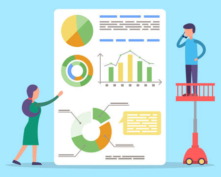 Man and woman looking on statistics diagrams. People tell about project metrics on presentation. Board with financial and analytics information. Vector illustration of working process in flat style