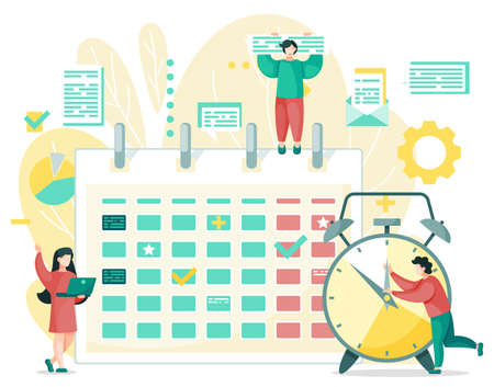 Time management, calendar schedule and people organizing work together. Vector illustration of chat blogs and plants, documents in envelope and gears. Planning and reproductive organize, clock
