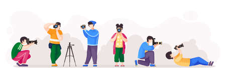Paparazzi or photographers with high resolution cameras isolated at white background. People in different poses taking photo, using professional equipment. Set of cartoon characters with men and women