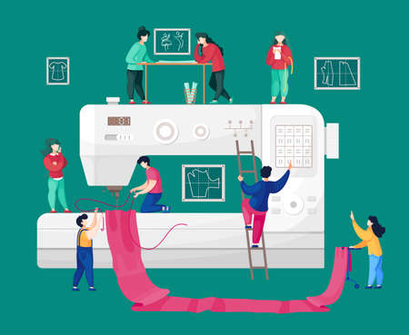 Concept of sewing workshop, sewers working with fabric at sewing machine. Tailor working at ladder, press button at panel. People communicating. Vector illustration with faceless cartoon characters 矢量图像