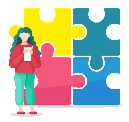 Cartoon colorful vector illustration of woman holding document or paper in hands at huge puzzle background. Sucess finish, solution of problem. Combine puzzle, find right business decision concept