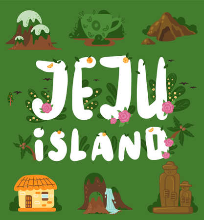 Welcome to Jeju. Main attractions of the south korean island Jeju. Mountaine hallasan with waterfalls, stone figures in Stone park, tropical plants in botanical garden, asian village old house Stock Illustratie