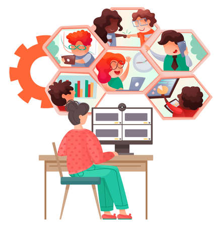 Video conference landing page for home office. Online friends conference. Online webinar. People listen to the lecturer. Internet group conference, training test, work from home, easy communication