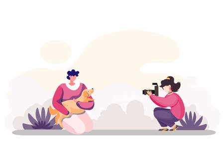 The girl photographer takes a picture of happy young woman holding and hugging a cute puppy outdoors. Flat style isolated vector female character illustration with dog and mistresses sunny day