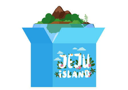 Gift blue open box with a piece of green island with trees and mountains and Jeju island inscription. South korean part of pure nature tropical landmark popular tourist destination on white background