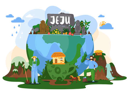 Beautiful tropical island jeju with green plants and flowers on planet earth near green meadow with mountaines and waterfalls. People with a shovel and an ax near the globe with stone figures