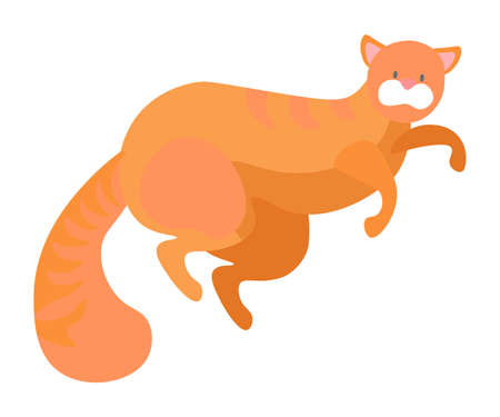 Cat lying on floor isolated cute pet animal with long tail and whiskers, playful curious kitten. Vector illustration kitty with straight ears, pussy cat, pet owners favorite friend of ginger color Ilustração