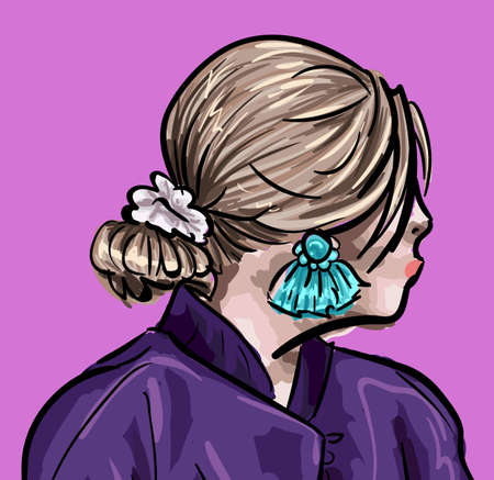 Female character with stylish hairstyle and accent accessories. Woman looking back showing earrings and back of head. Fashionable young girl. Feminine lady or model, diva vector illustration