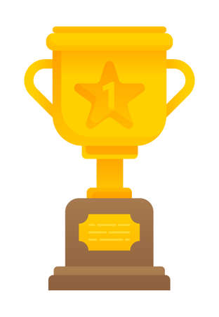 Golden cup award isolated prize for first place in flat style. Vector illustration gold winners trophy successful search, learning, congratulation rewarded for efforts. Golden goblet for achievements