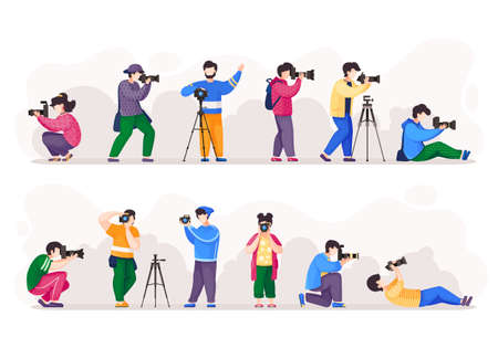 Cartoon photographers holding photo camera and photographing. Set of people photograph with camera. Cute female and male characters take photo shot. Amateur and professional photography occupation