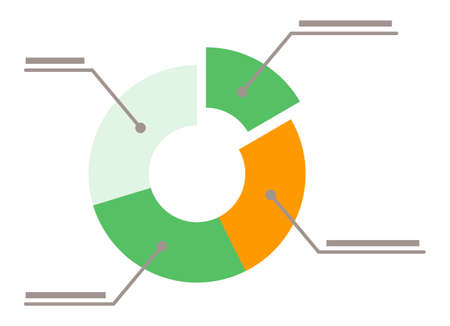 Colorful diagram icon with segments isolated on white background. Green and orange sectors on analytics chart. Information for business reports, appointments. Vector illustration in flat style