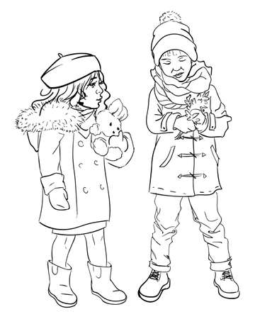 Little boy and girl playing outdoors together. Isolated colorless sketch outline brother and sister. People spending time together. Kids wearing winter clothes. Children outdoors, vector illustration