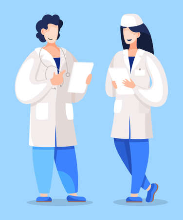 Doctor teaching intern to cope with documentation. Professor talking to student on practice. Medical worker discussing theory issues with nurse working in hospital or clinics. Vector in flat style