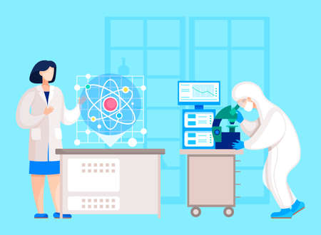 Characters working in laboratory on scientific research or experiments. Professional scientists dealing with microbiology and nanotechnology. Doc using microscope in lab. Vector in flat style