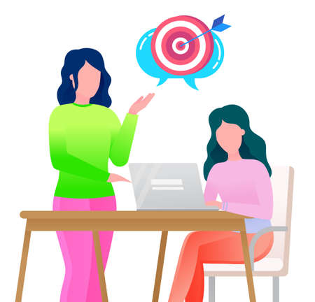 Female character working on laptop on innovative idea for company development. Woman boss asking of target audience. Office workers discussing problems of business enterprise. Vector illustration Ilustração