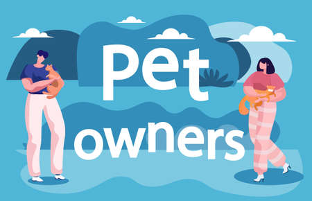 Pet owners holding and carrying their ruddy cats. Little kitten calmly sit on lady hands. Two women spending time with kittens walking outdoor. Nature view and capture on picture. Vector illustration