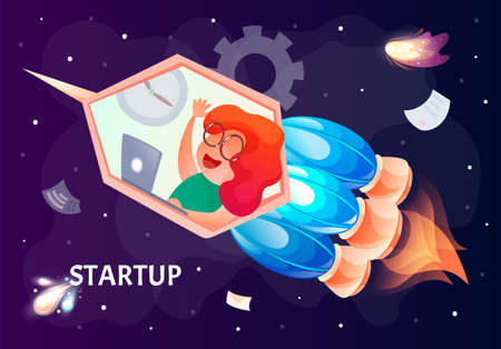 Startup vector concept, bright colorful fire engine rocket with female flying in universe, launching company, business launch, enterprise venture, entrepreneurship concept, web presentation banner Иллюстрация